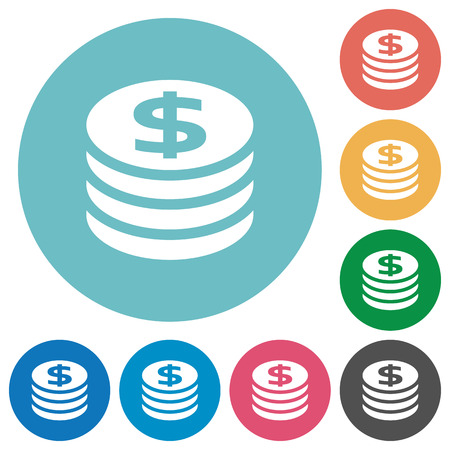 Flat dollar coins icon set on round color background.