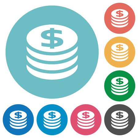 orange sign: Flat dollar coins icon set on round color background. Illustration