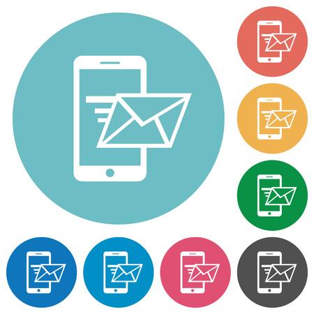 sending: Flat sending email icon set on round color background. Illustration