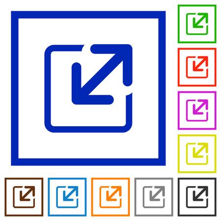 resize: Set of color square framed Resize element flat icons on white background