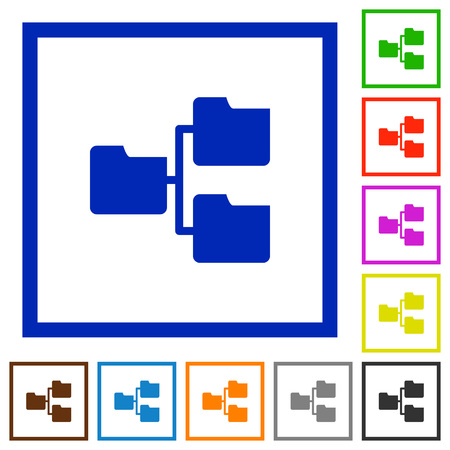 shared sharing: Set of color square framed Shared folders flat icons on white background