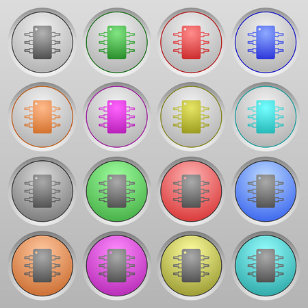 spherical: Set of Integrated circuit plastic sunk spherical buttons. Illustration