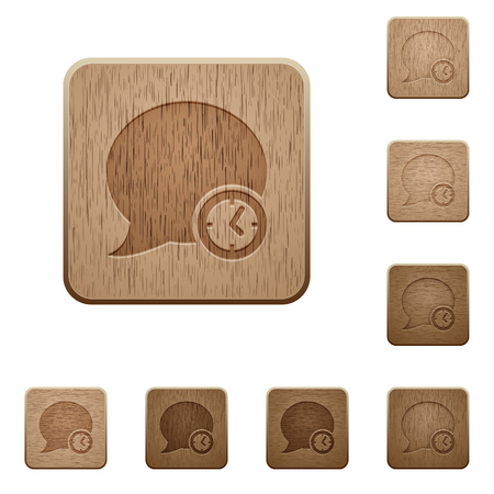 polished wood: Set of carved wooden Blog comment time buttons in 8 variations.
