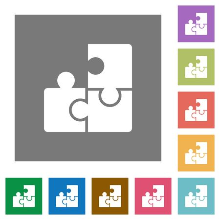 plugin: Puzzle flat icon set on color square background.