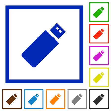 pendrive: Set of color square framed pendrive flat icons on white background