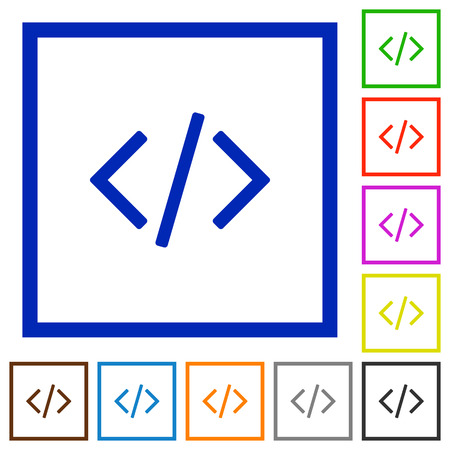 asp: Set of color square framed Programming code flat icons on white background