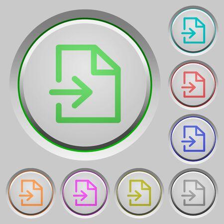 sunk: Set of color import sunk push buttons. Illustration