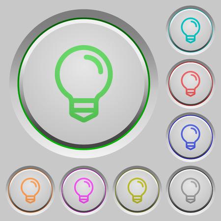 lumen: Set of color light bulb sunk push buttons.
