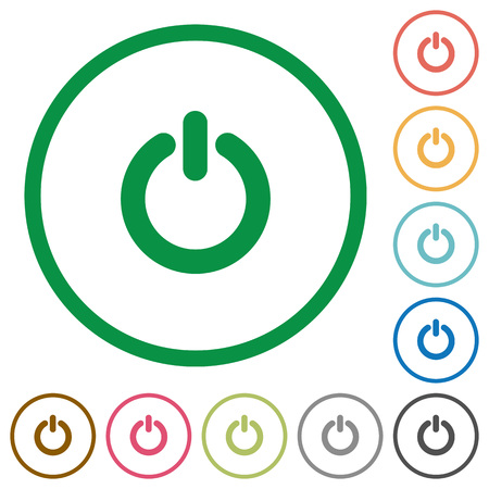 poweron: Set of Power switch color round outlined flat icons on white background