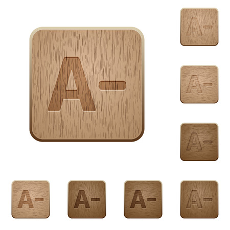 decrease: Set of carved wooden Decrease font size buttons in 8 variations.