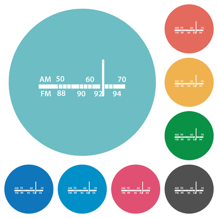 tuner: Flat radio tuner icon set on round color background.