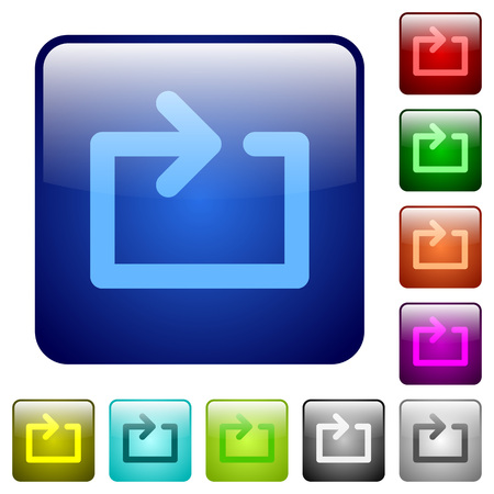 loop: Set of color media loop glass web buttons.