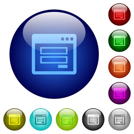 authorisation: Set of color login panel glass web buttons.