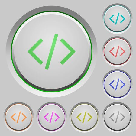 asp: Set of color Programming code sunk push buttons.