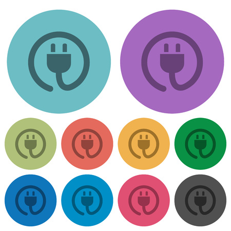 plain button: Color power cord flat icon set on round background.
