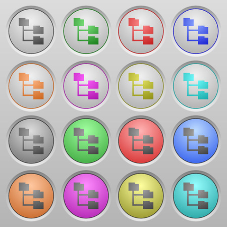 spherical: Set of Folder structure plastic sunk spherical buttons. Illustration