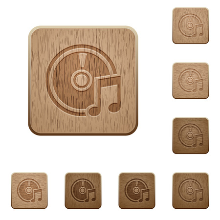 Set of carved wooden Audio CD buttons in 8 variations.