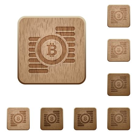 carved: Set of carved wooden bitcoins buttons in 8 variations. Illustration