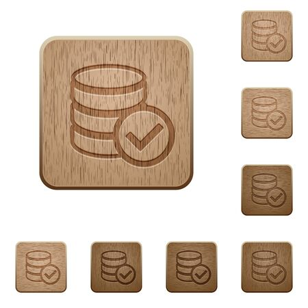 variations: Set of carved wooden Database ok buttons in 8 variations. Illustration