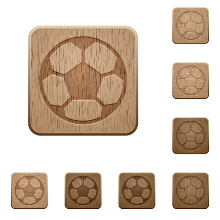 variations: Set of carved wooden soccer ball buttons in 8 variations. Illustration