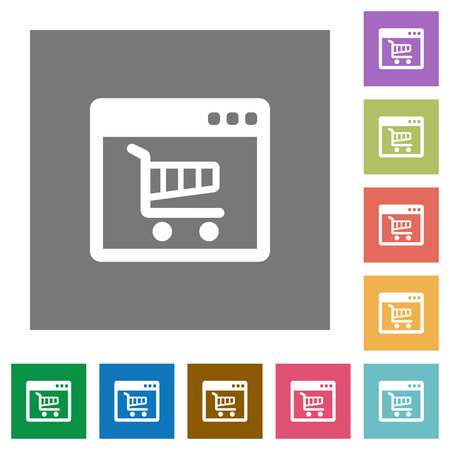 webshop: Webshop flat icon set on color square background.
