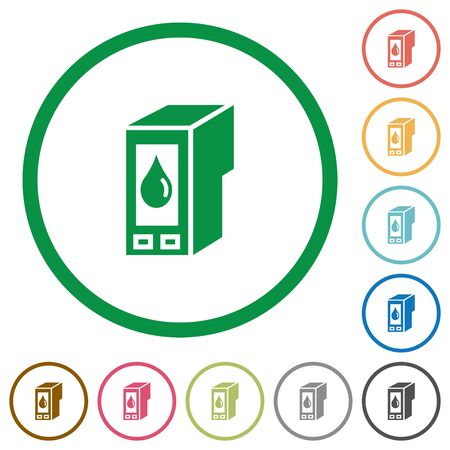 cartridge: Set of Ink cartridge color round outlined flat icons on white background