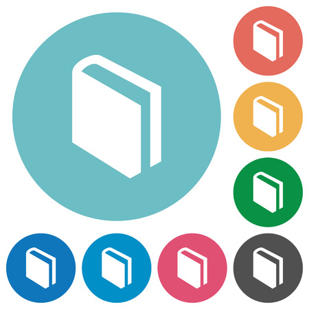 lexicon: Flat book icon set on round color background.