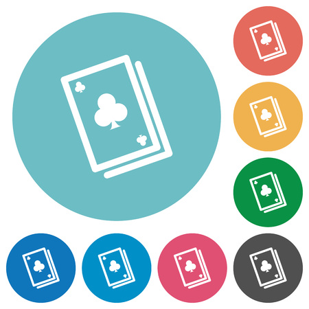 Flat card game icon set on round color background.