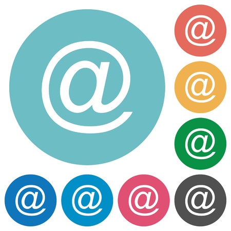 addressee: Flat email symbol icon set on round color background.