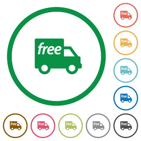 camion: Set of Free shipping color round outlined flat icons on white background