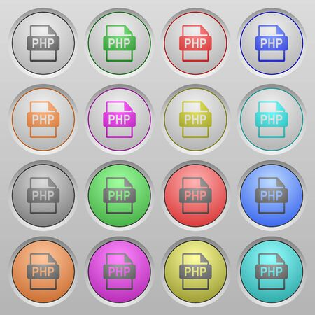 php: Set of PHP file format plastic sunk spherical buttons. Illustration