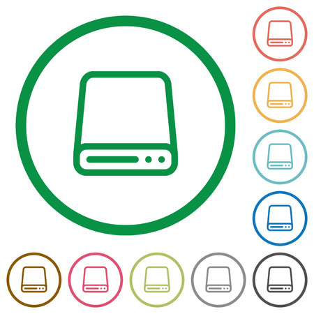 hard disk drive: Set of Hard disk drive color round outlined flat icons on white background