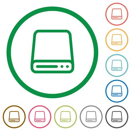 harddisk: Set of Hard disk drive color round outlined flat icons on white background