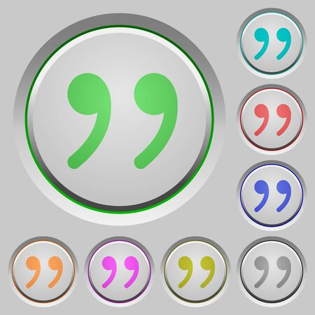 quoted: Set of color Quotation sunk push buttons. Illustration