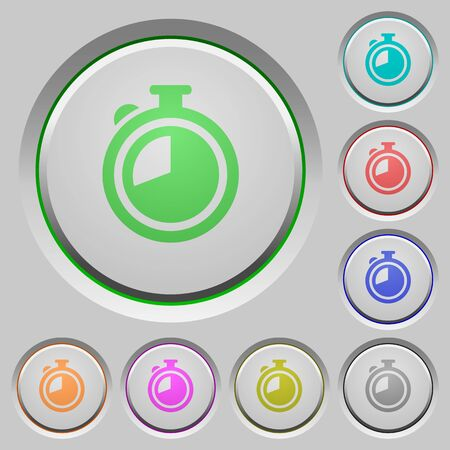 chronograph: Set of color timer sunk push buttons.