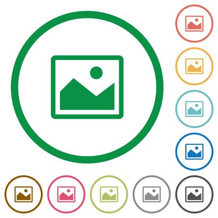 Conjunto de color de la imagen redonda esbozó iconos planos sobre fondo blanco