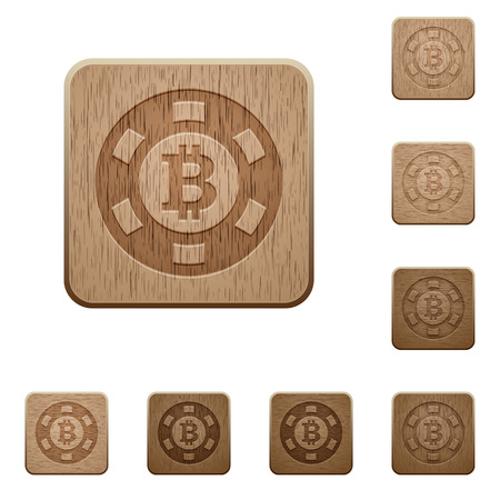 variations: Set of carved wooden Bitcoin casino chip buttons in 8 variations.