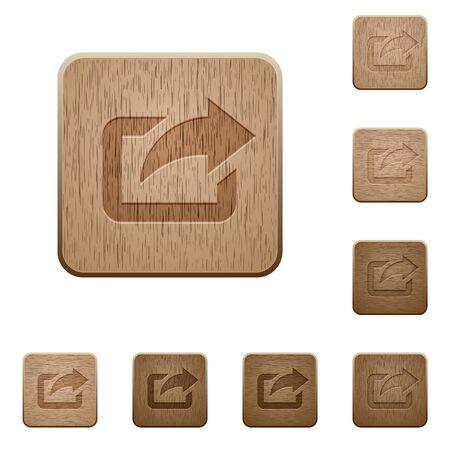 variations set: Set of carved wooden export buttons in 8 variations.