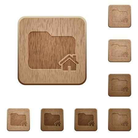 variations set: Set of carved wooden home folder buttons in 8 variations. Illustration