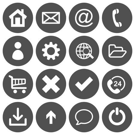basic: Set of 16 basic flat icons on gray, round background