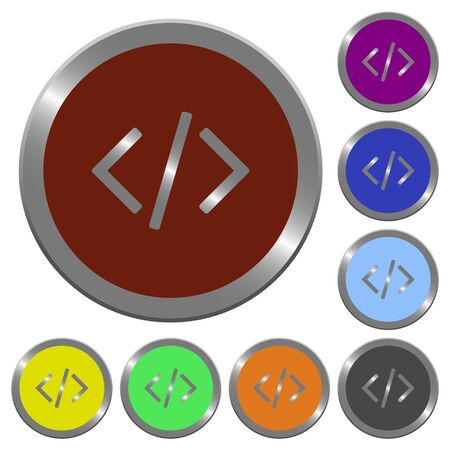 asp: Set of color glossy coin-like programming code buttons.