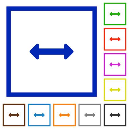 resize: Set of color square framed Resize horizontal flat icons on white background Illustration