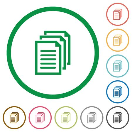Set of documents color round outlined flat icons on white background