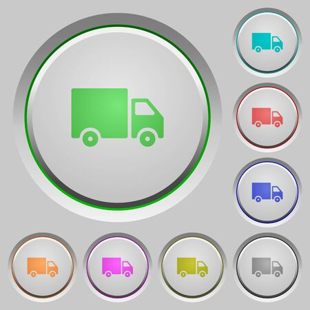 camion: Set of color delivery sunk push buttons. Illustration