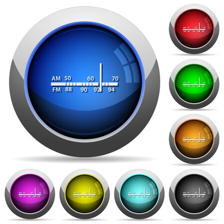 tuner: Set of round glossy Radio tuner buttons. Arranged layer structure. Illustration