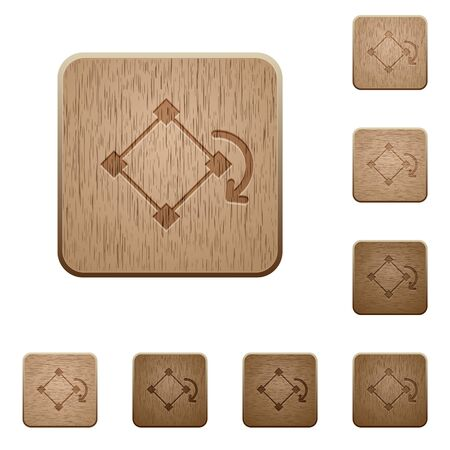 rotate: Set of carved wooden rotate object buttons in 8 variations.