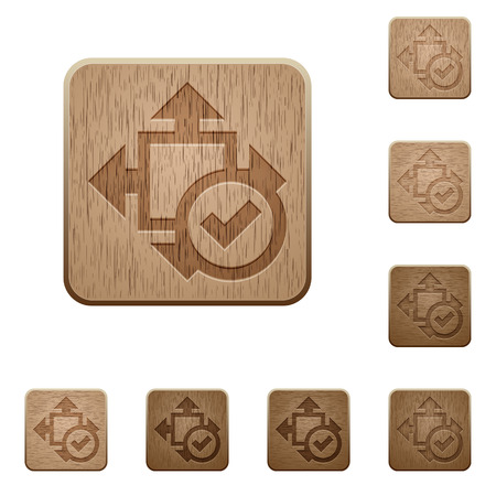 variations: Set of carved wooden accept size buttons in 8 variations.
