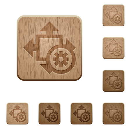 size: Set of carved wooden size settings buttons in 8 variations.