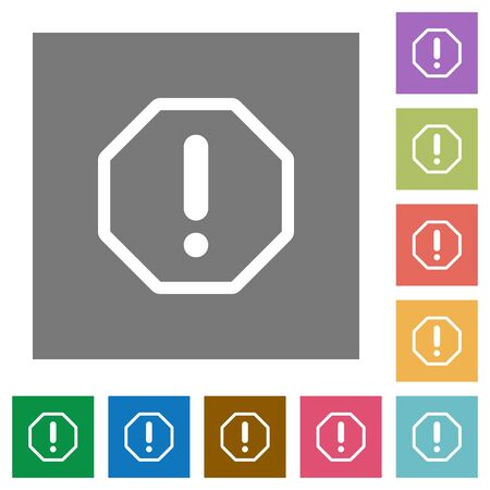 malfunction: Error flat icon set on color square background. Illustration
