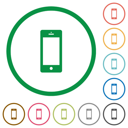 Set of Cellphone color round outlined flat icons on white background